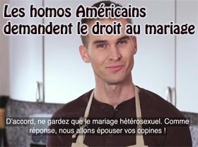 Les Homos Américains demandent le droit au Mariage