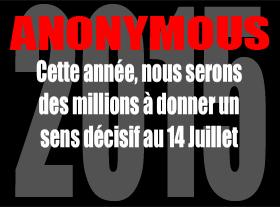 Anonymous #OP Révolution - 14 Juillet 2015 Paris