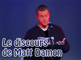 Le discours de Matt Damon