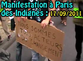 Manifestation à Paris des Indignés : 17/09/2011